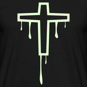 Noir cross_kreuz_melting1 Tee shirts - T-shirt Homme