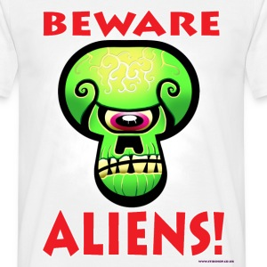 White Beware Aliens! Men's Tees (short-sleeved) - Men's T-Shirt