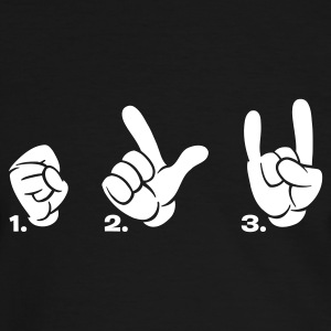 Schwarz/weiß Sign of the horns satan fork finger T-Shirts (Kurzarm) - Männer Kontrast-T-Shirt
