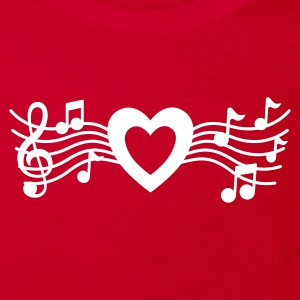 Red Music Heart Kid's Shirts  - Kids' Organic T-shirt