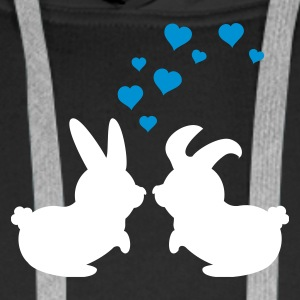 Schwarz two bunnies 'n hearts (2c) Pullover - Men's Premium Hoodie