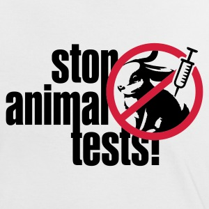 Weiß/schwarz ::STOP ANIMAL TESTS:: T-Shirts - Frauen Kontrast-T-Shirt