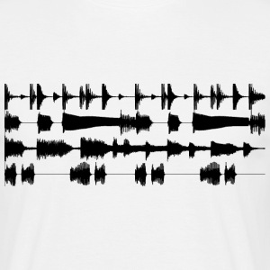 Blanco Black waveforms Camisetas - Camiseta hombre