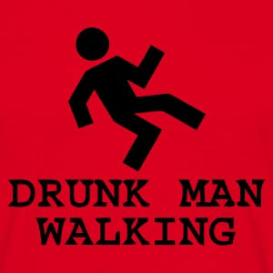 Red Drunk Man Walking Men's Tees - Men's T-Shirt