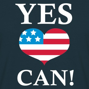 Marineblå Yes We Can!  T-shirts - Herre-T-shirt