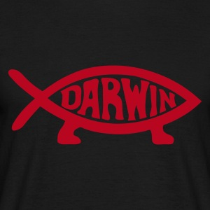 Black Darwin Fish Men's Tees - Men's T-Shirt