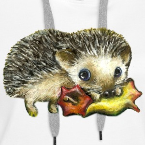 Little hedgehog and apple - Women's Premium Hoodie
