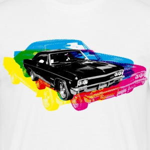 Hvit Muscle Car - Retro - CMYK T-skjorter - T-skjorte for menn
