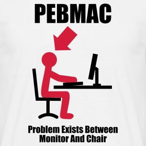 Biały PEBMAC - Problem exists between Monitor and Chair - Computer - Admin Koszulki - Koszulka męska