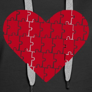 Black Puzzle - Heart - Love Jumpers  - Women's Premium Hoodie