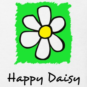 White Happy Daisy GREEN Kid's Shirts  - Kids' Organic T-shirt