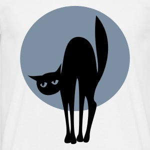 Black cat with silver moon - Mannen T-shirt