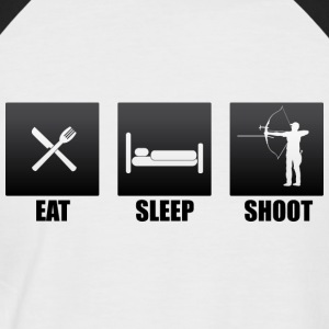 eat sleep shoot recurve visier - Männer Baseball-T-Shirt