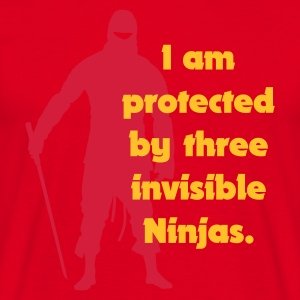Röd I am protected by three invisible ninjas T-shirts - T-shirt herr