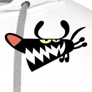White Barky Dog Polo Shirts - Men's Premium Hoodie