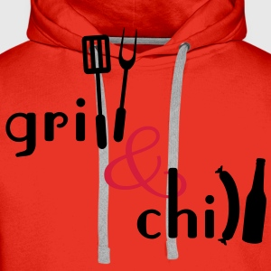 Grill and Chill  Aprons - Men's Premium Hoodie