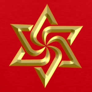 Rael Star, digital gold, variant of Swasika (Svasti - happiness, Salvation) - happiness symbol,  T-shirts - Mannen Premium tank top