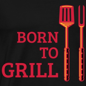 Born To Grill (Cutlery, 3C) Cooking Apron - Men's Premium T-Shirt