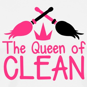 The QUEEN of CLEAN mother hot pink with brooms  Aprons - Men's Premium T-Shirt