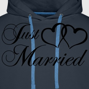 just_married_coeur Tabliers - Sweat-shirt à capuche Premium pour hommes