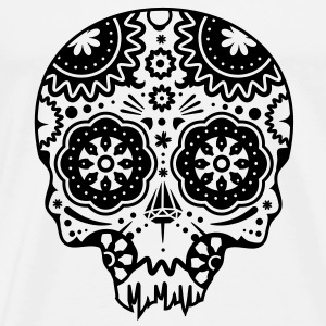 Skull with different ornaments in the style of the Mexican Sugar Skulls Hoodies & Sweatshirts - Men's Premium T-Shirt