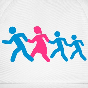 running_family_with_two_boys T-shirts - Baseballkasket