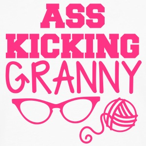 Ass kicking GRANNY with glasses and wool T-Shirts - Men's Premium Longsleeve Shirt