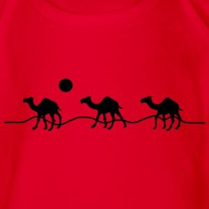 3 camels in the desert with sun Shirts - Organic Short-sleeved Baby Bodysuit