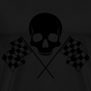 Skull Checkered Flags Bags  - Men's Premium T-Shirt