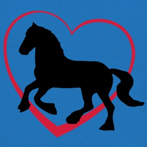 Fresian or Gypsie Cob type Horse with Heart Bags  - Men's T-Shirt