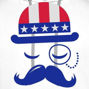 I love heart fashionable American vintage Sir with moustache USA flag hat for sports championship pride & election vote America t-shirts Kids' Shirts - Men's Premium Hoodie