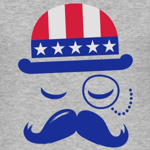 I love heart fashionable American vintage Sir with moustache USA flag hat for sports championship pride & election vote America t-shirts Hoodies & Sweatshirts - Men's Slim Fit T-Shirt
