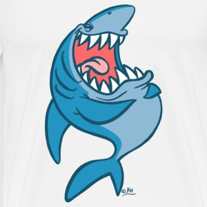 White Big Blue Laughing Cartoon Shark by Cheerful Madness!! online shop Buttons - Men's Premium T-Shirt