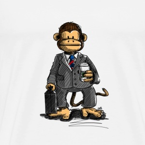 The Business Monkey drinking coffee Bags  - Men's Premium T-Shirt