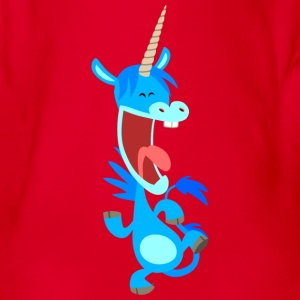 Cute Dancing Blue Cartoon Unicorn by Cheerful Madness!! Kids' Shirts - Organic Short-sleeved Baby Bodysuit