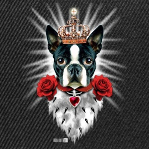 Boston Terrier The King - Krone - rote Rosen Hund  - Snapback Cap