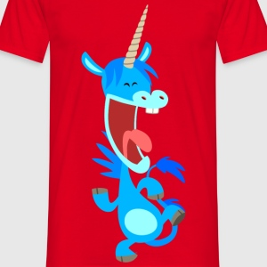 Cute Dancing Blue Cartoon Unicorn by Cheerful Madness!! Bags  - Men's T-Shirt