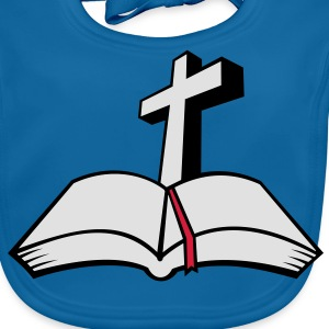cross open bible 3c Kids' Shirts - Baby Organic Bib