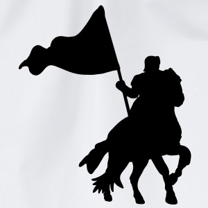 heroic medieval knight on a war horse with flag T-Shirts - Drawstring Bag