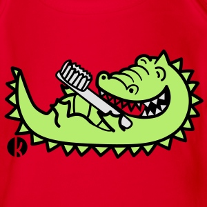 Krokodil mit Zahnbürste - Crocodile with Toothbrush T-Shirts - Baby Bio-Kurzarm-Body