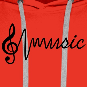 Treble Clef with the word music T-Shirts - Men's Premium Hoodie