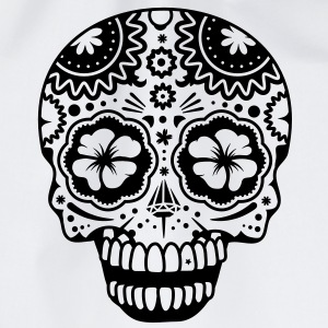 A laughing skull in the style of Sugar Skulls Hoodies - Drawstring Bag