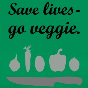 Save lives - go veggie. cook chef  Aprons - Men's Premium T-Shirt