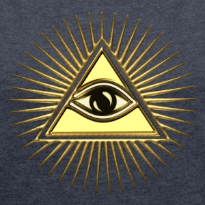 Pyramid Eye - symbol consciousness & divinity. Hoodies & Sweatshirts - Women's T-shirt with rolled up sleeves