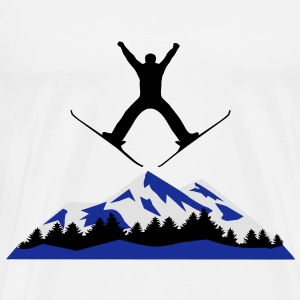 skiing, ski, mountain, Hoody - Men's Premium T-Shirt