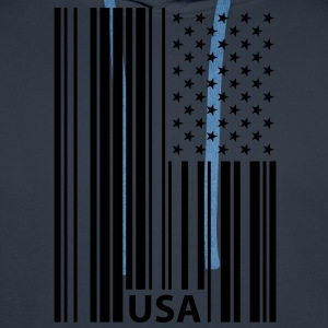 USA Barcode Flag T-Shirts - Men's Premium Hoodie