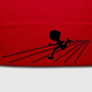 running person on a track sports Shirts - Winter Hat