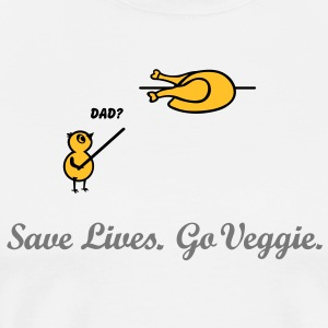 Save Lives, go veggie Go Green. vegan vegetarian  Aprons - Men's Premium T-Shirt