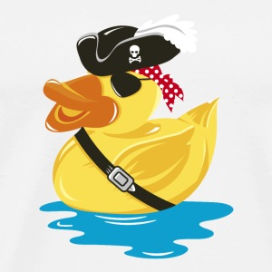 Pirate Rubber Duck with a pirate hat and eye patch Buttons - Men's Premium T-Shirt
