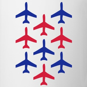 top guns blue and red planes in formation Shirts - Mug